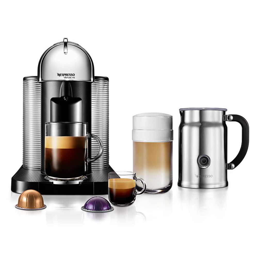nespresso vertuo coffee and espresso machine bundle chrome. Black Bedroom Furniture Sets. Home Design Ideas